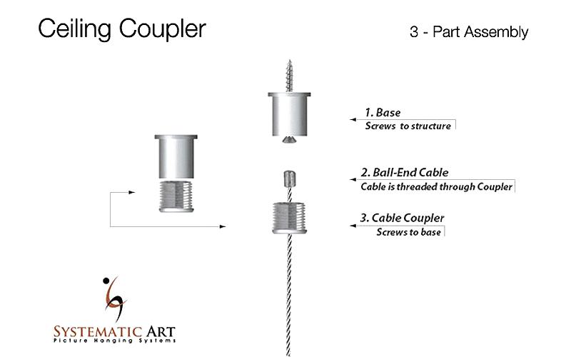 Ceiling Mounted Coupler Set Hardware For Suspending Art
